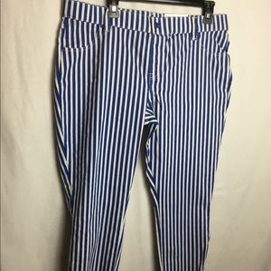 Hue stripped pull on pants